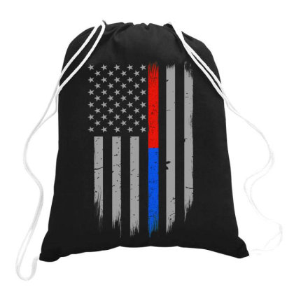 Trump Thin Red Blue Line Drawstring Bags Designed By Kakashop
