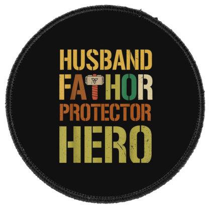 Husband Fathor Protector Hero Round Patch Designed By Kakashop