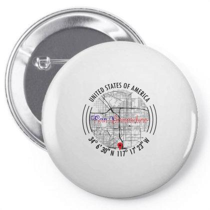 San Bernardino Road Map Art - Earth Tones Pin-back Button Designed By Artistic Paradigms
