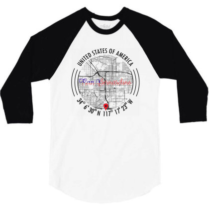 San Bernardino Road Map Art - Earth Tones 3/4 Sleeve Shirt Designed By Artistic Paradigms