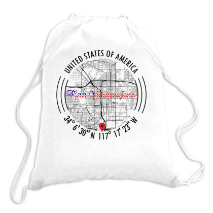 San Bernardino Road Map Art - Earth Tones Drawstring Bags Designed By Artistic Paradigms