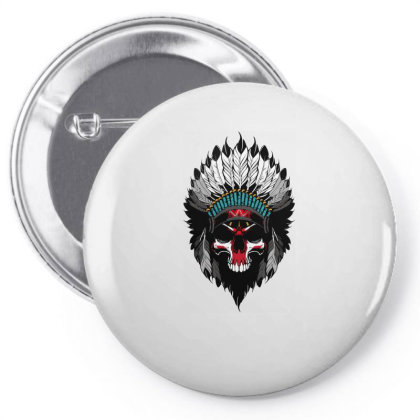 Indian Skull Pin-back Button Designed By Estore