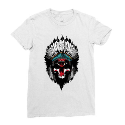 Indian Skull Ladies Fitted T-shirt Designed By Estore
