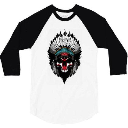 Indian Skull 3/4 Sleeve Shirt Designed By Estore