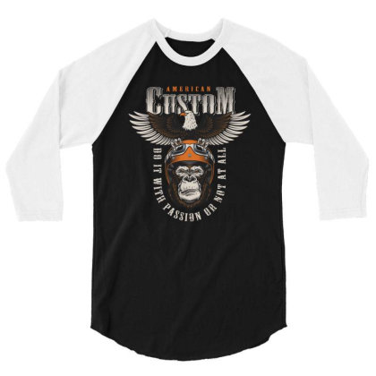 American Custom, Do It With Passion Or Not At All, Gorilla, Eagle 3/4 Sleeve Shirt Designed By Estore