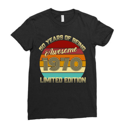 50 Years Of Being Awesome 1970 Limited Edition Ladies Fitted T-shirt Designed By Ashlıcar