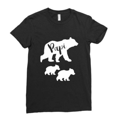 Shirt For Papi | Papi Bear Father's Day Gift Ladies Fitted T-shirt Designed By Cidolopez