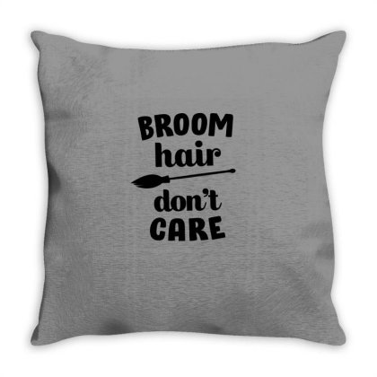 Broom Hair Don't Care Cute Funny Gift Throw Pillow Designed By Koalastudio