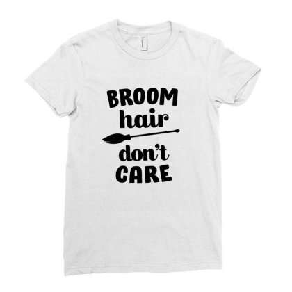 Broom Hair Don't Care Cute Funny Gift Ladies Fitted T-shirt Designed By Koalastudio