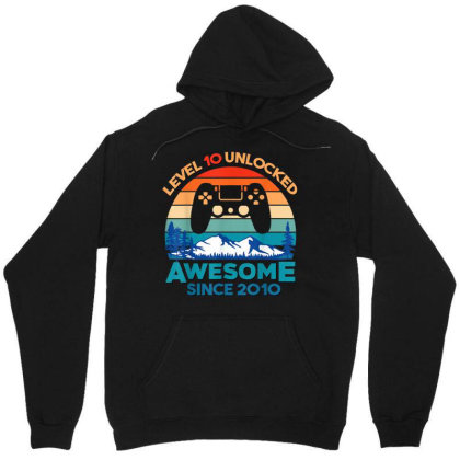 Level 10 Unlocked Birthday 10 Years Old Awesome Since 2010 Unisex Hoodie Designed By Schulz-12