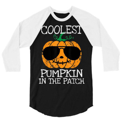 Kids Coolest Pumpkin In The Patch Halloween Boys Girls 3/4 Sleeve Shirt Designed By Schulz-12