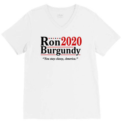 Ron Burgundy 2020 Election V-neck Tee Designed By Mito220