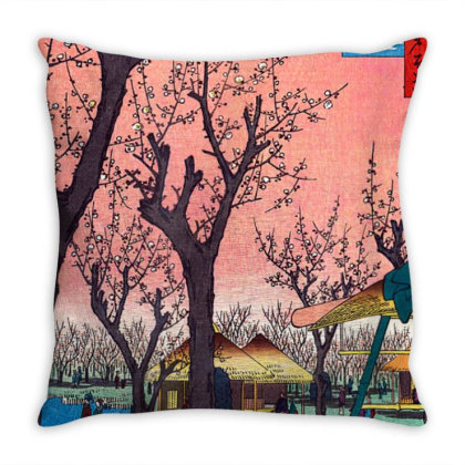 Japanese Cherry Blossom Japanese Woodblock Throw Pillow Designed By Schulz-12