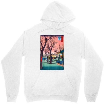 Japanese Cherry Blossom Japanese Woodblock Unisex Hoodie Designed By Schulz-12