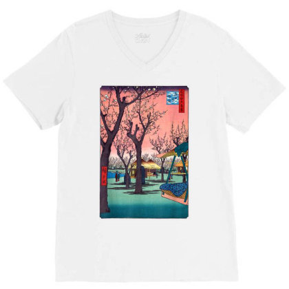 Japanese Cherry Blossom Japanese Woodblock V-neck Tee Designed By Schulz-12