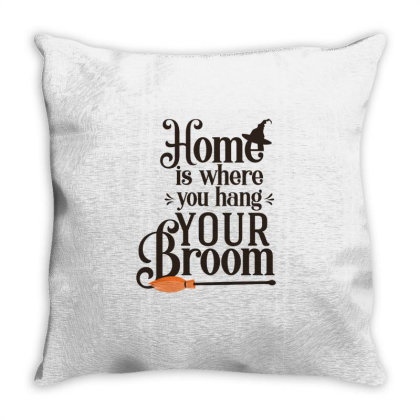 Home Is Where You Hang Your Broom Cute Funny Gift Throw Pillow Designed By Koalastudio