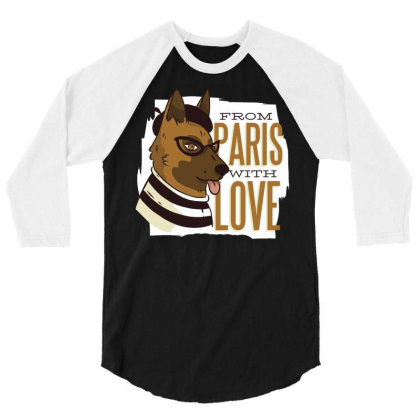 Paris Dog 3/4 Sleeve Shirt Designed By Zizahart