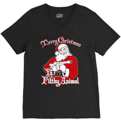 Santa Ya Filthy Animal Merry Christmas V-neck Tee Designed By Mito220