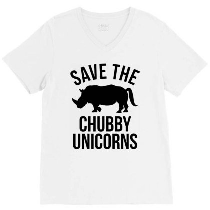 Save The Chubby Unicorns V-neck Tee Designed By Mito220