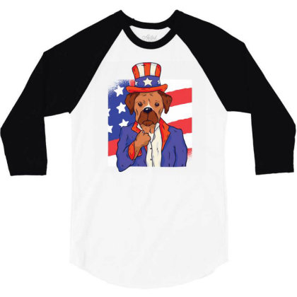Patriotic Dog 3/4 Sleeve Shirt Designed By Zizahart