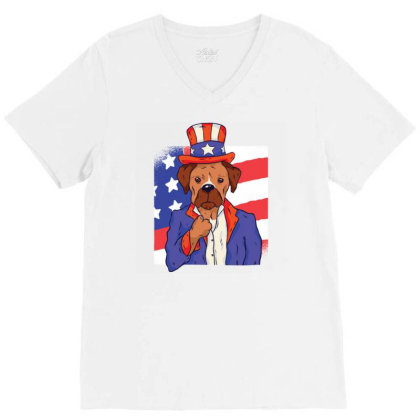 Patriotic Dog V-neck Tee Designed By Zizahart