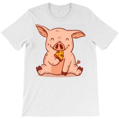 Pig Eating Pizza T-shirt Designed By Zizahart