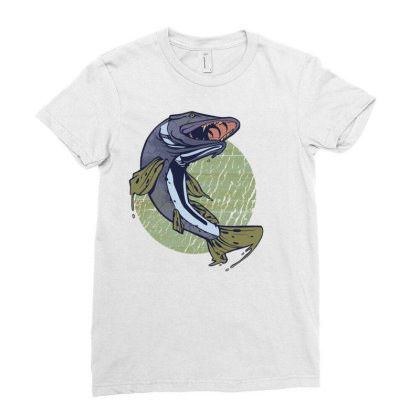 Pike Fish Ladies Fitted T-shirt Designed By Zizahart