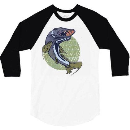 Pike Fish 3/4 Sleeve Shirt Designed By Zizahart