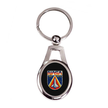 Nasa Vintage Silver Oval Keychain Designed By Colorfull Art