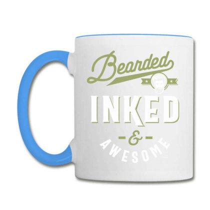 Bearded Inked & Awesome Tee Beard Tattoo Lover Coffee Mug Designed By Cidolopez