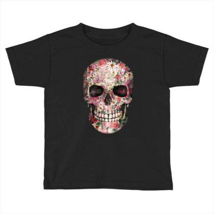 Floral Sugar Skull Toddler T-shirt Designed By Chiks