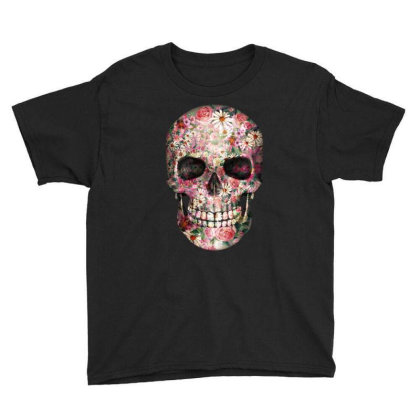 Floral Sugar Skull Youth Tee Designed By Chiks