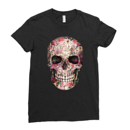 Floral Sugar Skull Ladies Fitted T-shirt Designed By Chiks