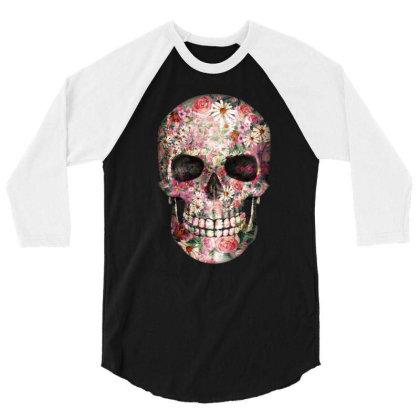Floral Sugar Skull 3/4 Sleeve Shirt Designed By Chiks