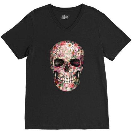 Floral Sugar Skull V-neck Tee Designed By Chiks
