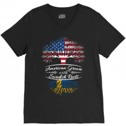 American Grown with Swedish roots V-Neck Tee | Artistshot