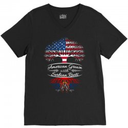 American Grown with Serbian Roots V-Neck Tee | Artistshot