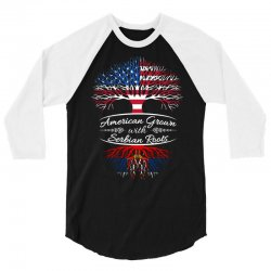 American Grown with Serbian Roots 3/4 Sleeve Shirt | Artistshot