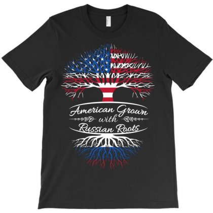 American Grown With Russian Roots T-shirt Designed By Davidph