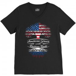 American Grown with Russian roots V-Neck Tee   Artistshot