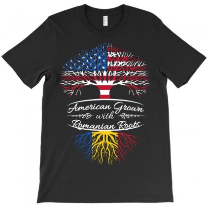 American Grown Woth Romanian Roots T-shirt Designed By Davidph