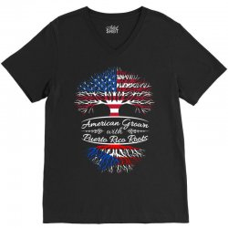 American Grown with Puerto Rican roots V-Neck Tee | Artistshot