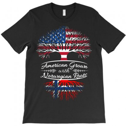 American Grown With Norwegian Roots T-shirt Designed By Davidph