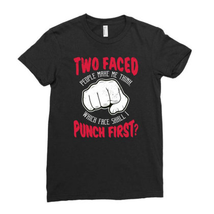 Punch Ladies Fitted T-shirt Designed By Panduart