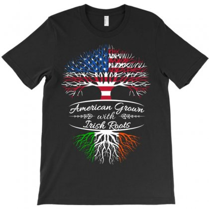 American Grown With Irish Roots T-shirt Designed By Davidph