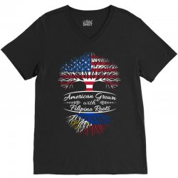 American Grown with Filipino roots V-Neck Tee | Artistshot