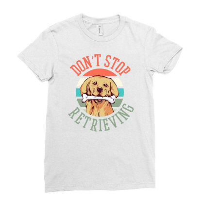 Retriever Dog Ladies Fitted T-shirt Designed By Panduart