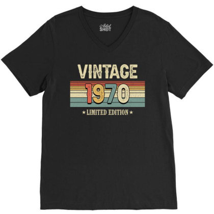 Vintage 1970 Limited Edition V-neck Tee Designed By Badaudesign