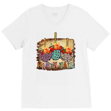 Fall Aplle Candy V-neck Tee Designed By Badaudesign