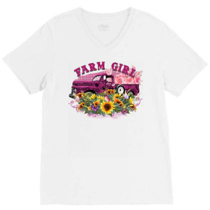Farm Girl V-neck Tee Designed By Badaudesign